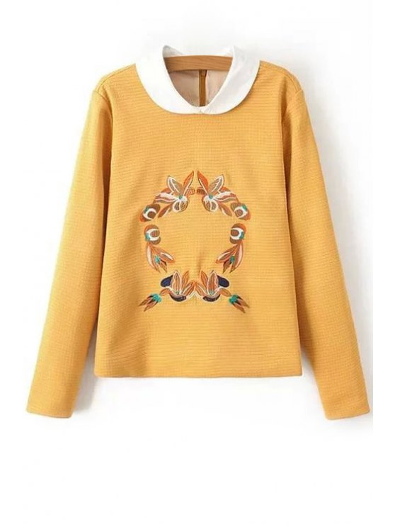 fashion Floral Peter Pan Collar Long Sleeve Sweatshirt - YELLOW S