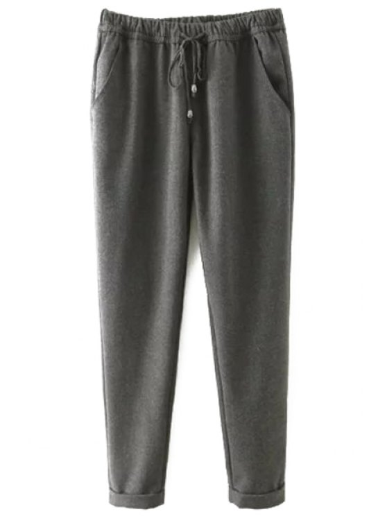 ladies Elastic Waist Tie-Up Pants - GRAY S