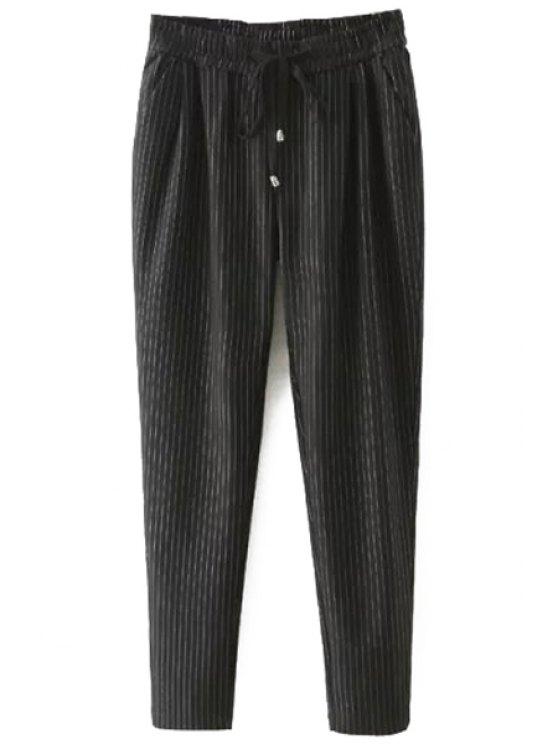 buy Tie-Up Stripe Pants - BLACK 2XL