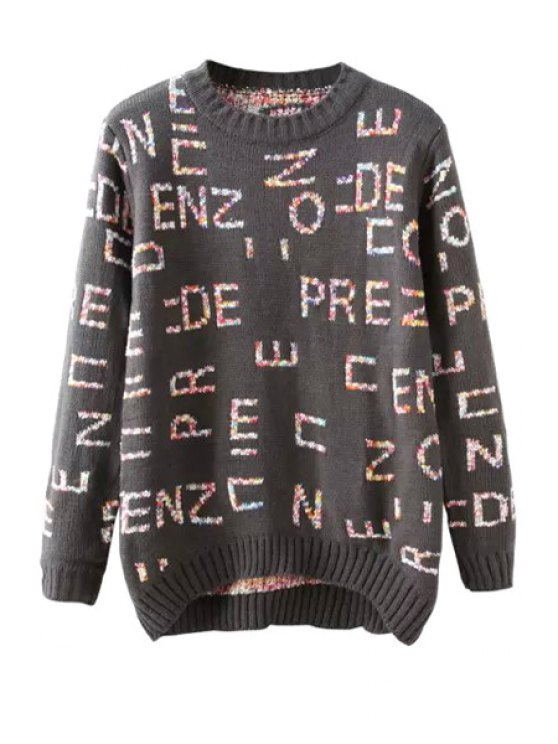 online Colorful Letter Pattern Jumper - GRAY ONE SIZE(FIT SIZE XS TO M)