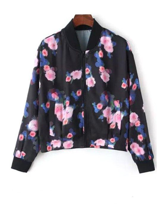 trendy Pink Floral Print Long Sleeve Jacket - BLACK S