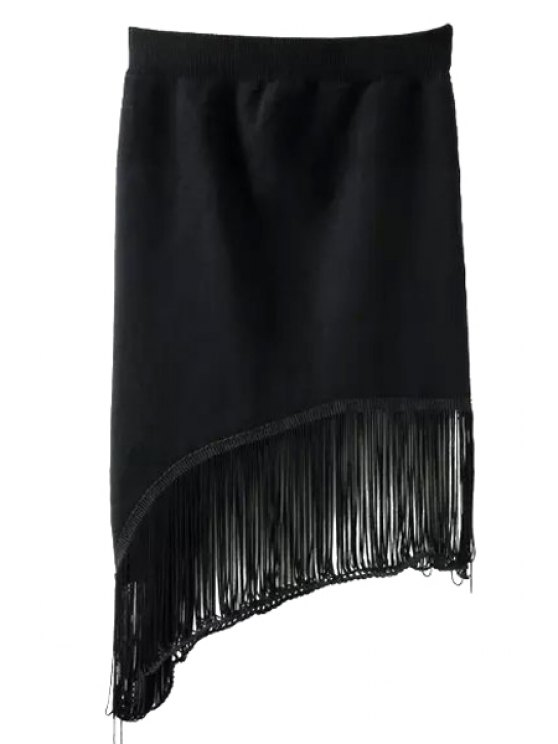 sale Tassels Asymmetric Black Skirt - BLACK ONE SIZE(FIT SIZE XS TO M)