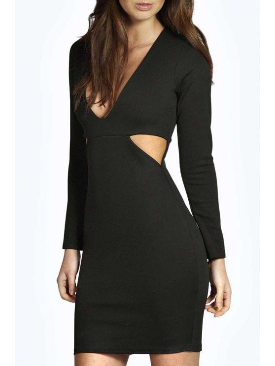 unique Cut Out Plunging Neck Long Sleeve Bodycon Dress - BLACK S