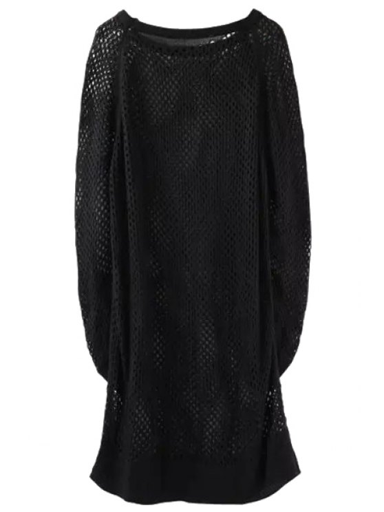 Suéter hueco largo suelto - Negro Un tamaño(Montar tam