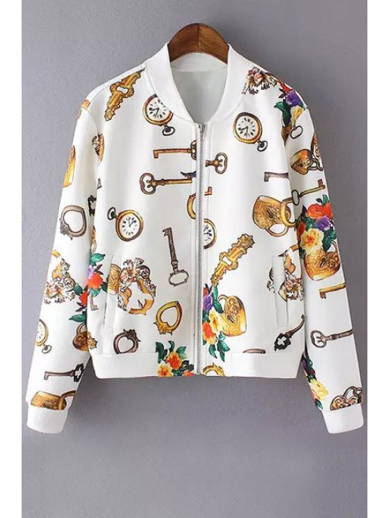 affordable Key Floral Print Long Sleeve Jacket - WHITE S