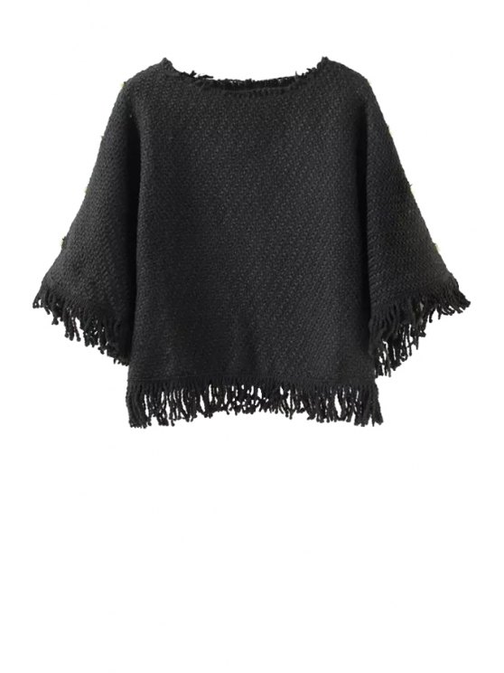unique Solid Color Tassels Spliced Sweater - BLACK S