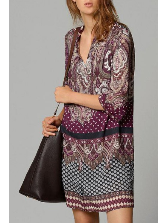 shop V Neck Floral Print 3/4 Sleeve Dress - WINE RED S