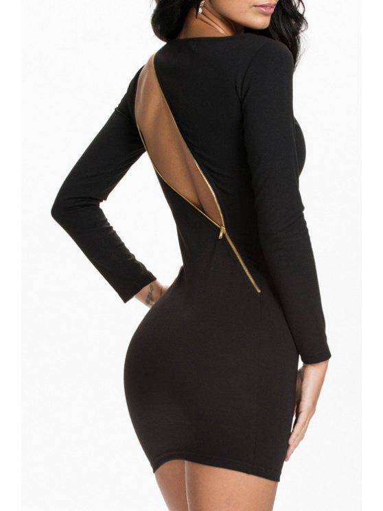 buy Black Long Sleeve Zipper Bodycon Dress - BLACK S