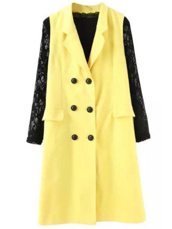 fashion Lapel Double-Breasted Waistcoat + Long Sleeve Lace Dress Twinset - YELLOW AND BLACK S