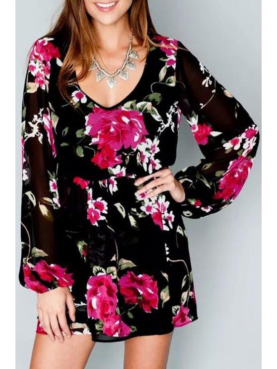 fancy V Neck Floral Print Ruffle Long Sleeve Dress - BLACK S