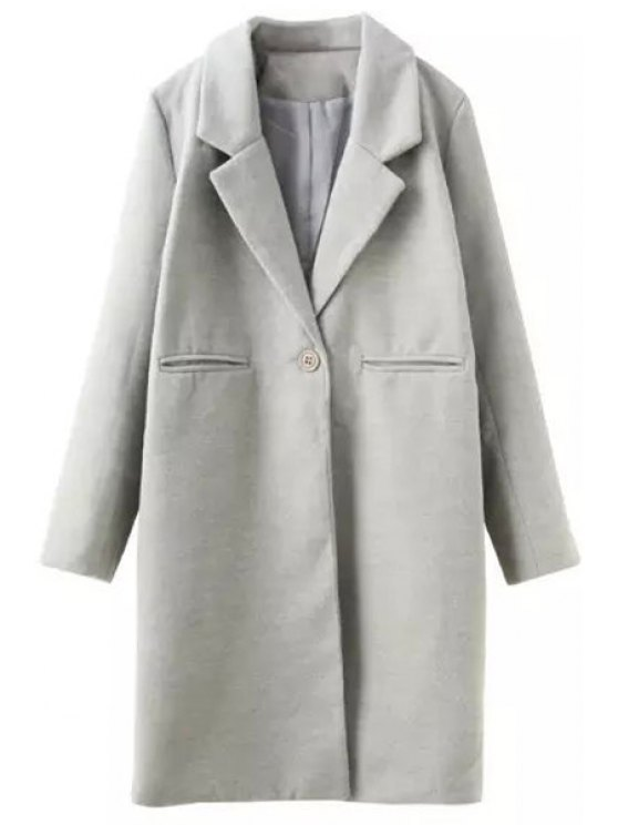 new Lapel Solid Color One Button Coat - GRAY S