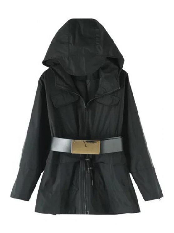 chic Hooded Zipper Drawstring Coat With Belt - BLACK M