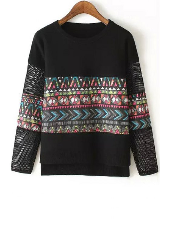 affordable Colorful Geometric Pattern Long Sleeve Sweater - BLACK ONE SIZE(FIT SIZE XS TO M)