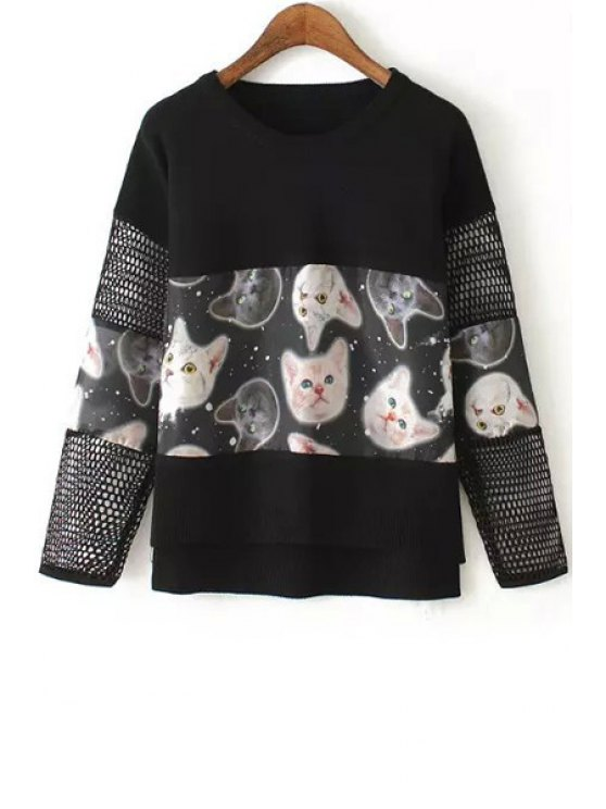 womens Jewel Neck Cat Print Long Sleeve Sweater - BLACK ONE SIZE(FIT SIZE XS TO M)