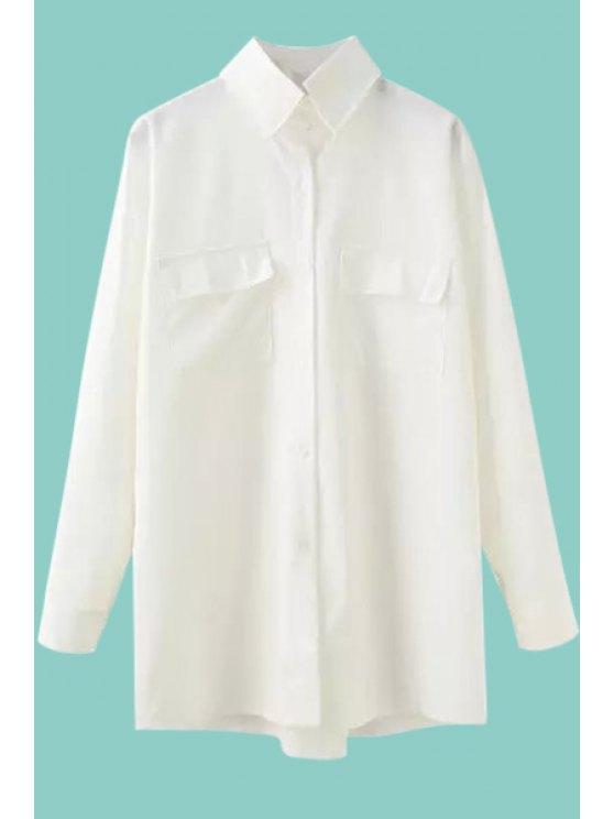 best Long Sleeve Single-Breasted White Shirt - WHITE M