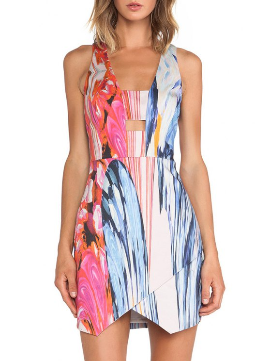 outfit Painting Print Sleeveless Dress - COLORMIX S