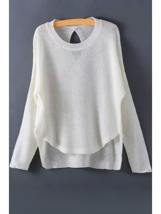 women Solid Color High Low Sweater - WHITE ONE SIZE(FIT SIZE XS TO M)