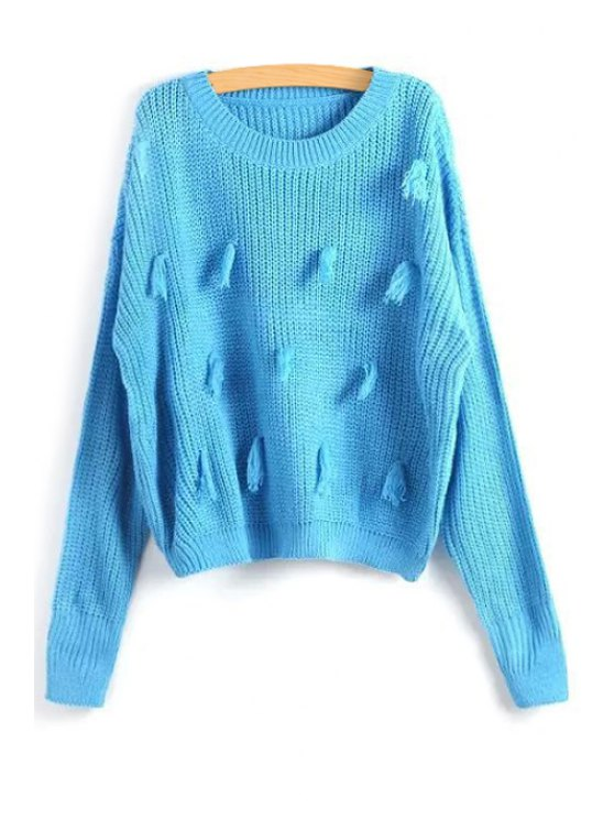 women's Long Sleeve Solid Color Jumper - BLUE ONE SIZE(FIT SIZE XS TO M)
