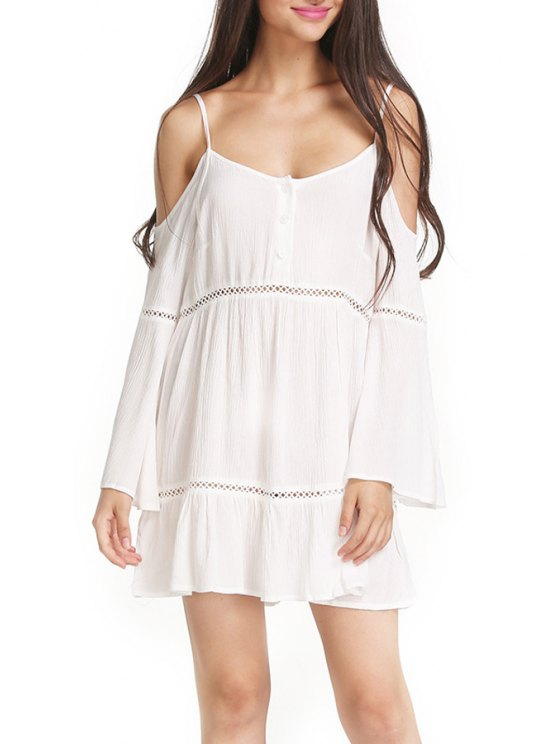 trendy White Cami Long Sleeve A Line Dress - WHITE S