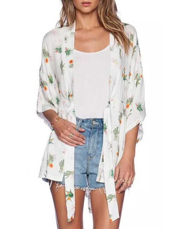 trendy Collarless Floral Cactus Print 3/4 Sleeve Blouse - WHITE S
