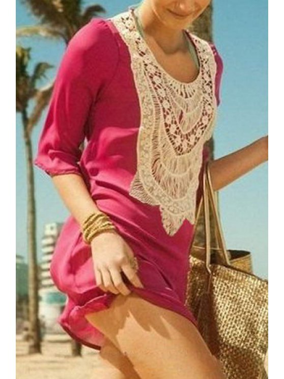 online Crochet Spliced 3/4 Sleeve Cover Up - PEACH RED ONE SIZE(FIT SIZE XS TO M)