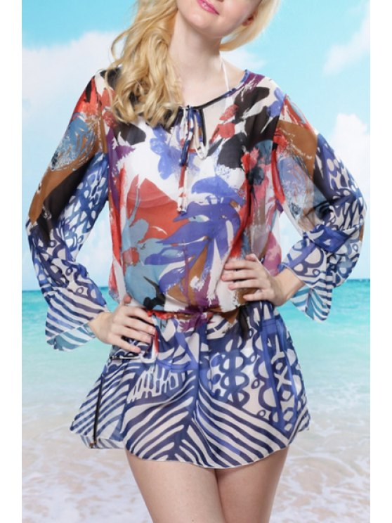 outfit Long Sleeve Print Chiffon Cover Up - DEEP BLUE ONE SIZE(FIT SIZE XS TO M)
