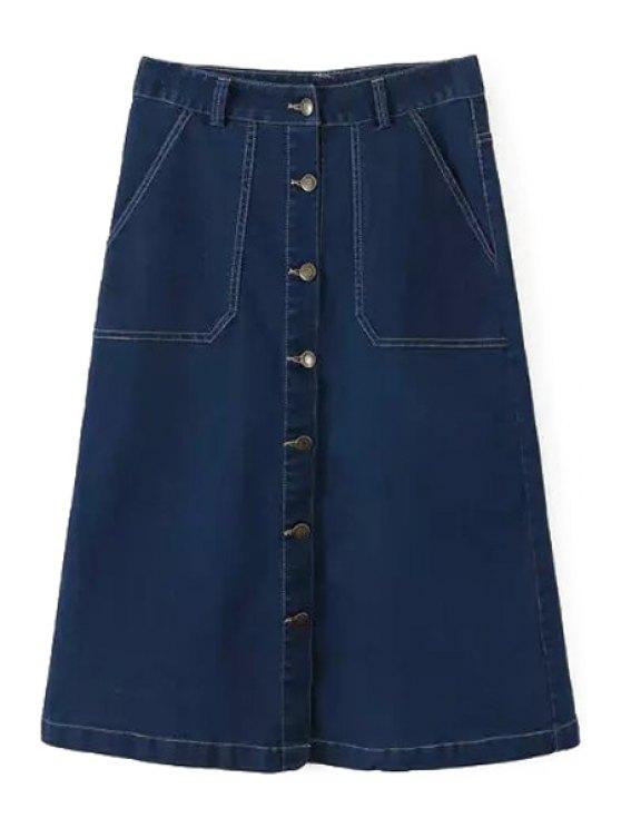 fancy A Line Denim Midi Skirt - BLUE S