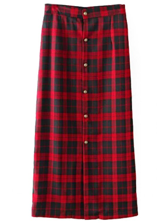 womens Single-Breasted Plaid Long Skirt - RED S