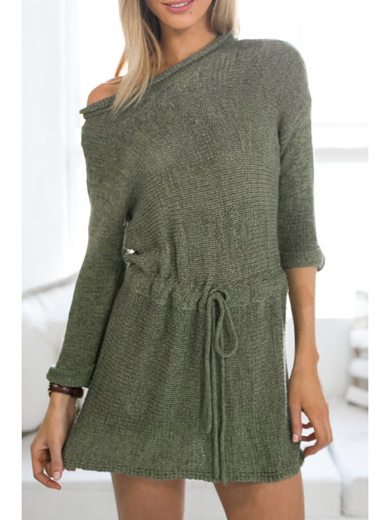 unique Solid Color Long Sleeve Sweater Dress - ARMY GREEN S