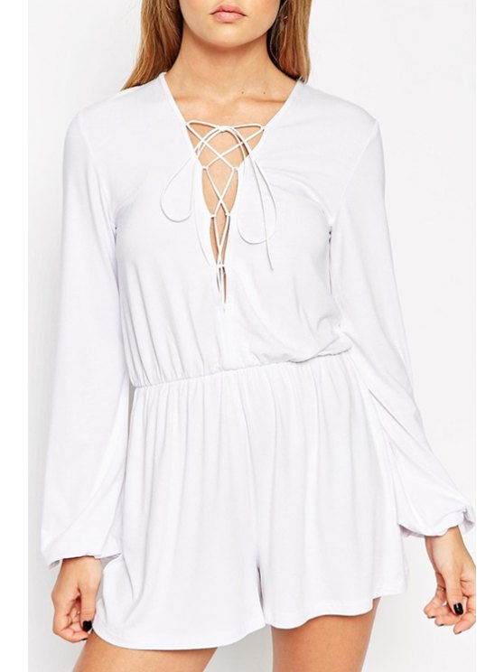 best Plunging Neck Lace Up Solid Color Romper - WHITE S