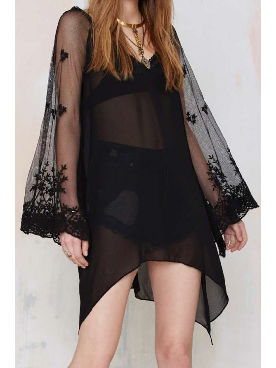 sale V Neck See-Through Voile Long Sleeve Dress - BLACK S