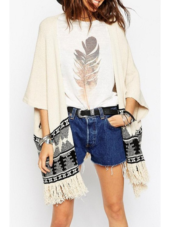 outfit Open Front Jacquard Tassels Cardigan - OFF-WHITE ONE SIZE(FIT SIZE XS TO M)