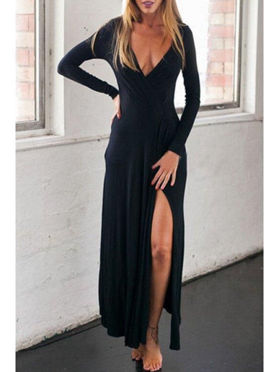 trendy Slit Plunging Neck Long Sleeve Maxi Dress - BLACK S