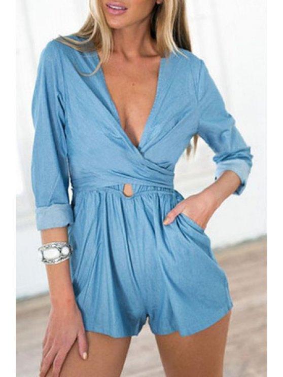 sale Blue Plunging Neck Long Sleeve Playsuit - BLUE S