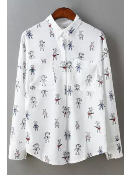 ladies Shirt Collar Cartoon Print Long Sleeve Shirt - WHITE ONE SIZE(FIT SIZE XS TO M)