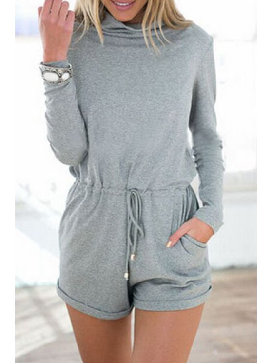 shops Gray Turtle Neck Long Sleeve Playsuit - GRAY L
