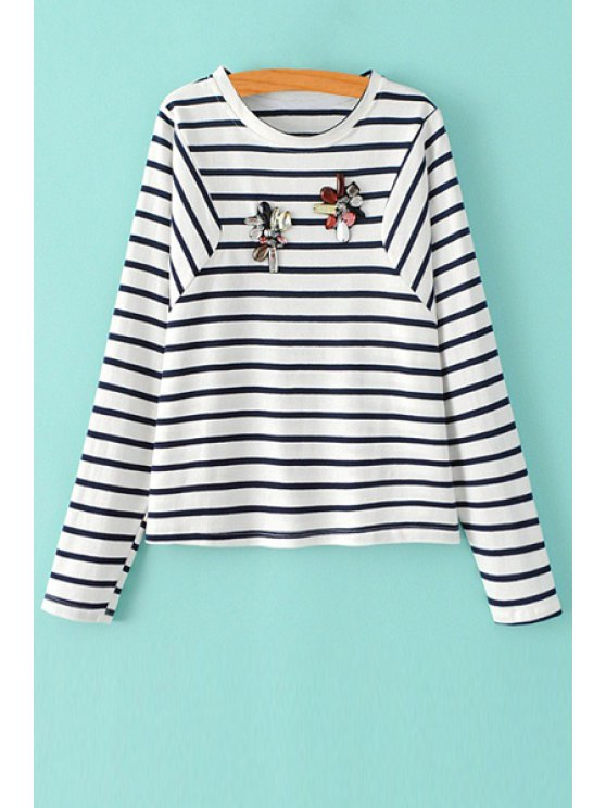 latest Stripe Rhinestone Embellished Long Sleeve T-Shirt - WHITE AND BLACK M