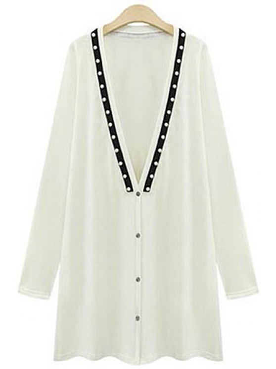 outfits Long Sleeve Beading Long Cardigan - WHITE XL