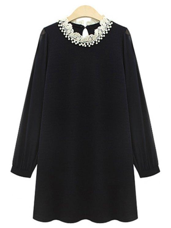 unique Long Sleeve Beaded Chiffon Dress - BLACK XL