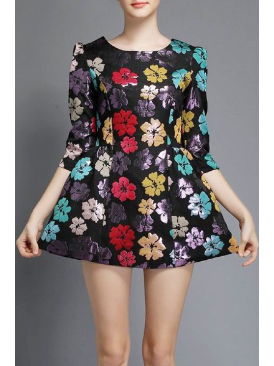latest Three Quarter Sleeve Floral A-Line Dress - BLACK L
