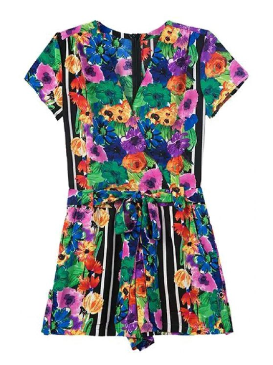 fashion Colorful Floral Print Short Sleeve Romper - COLORMIX S