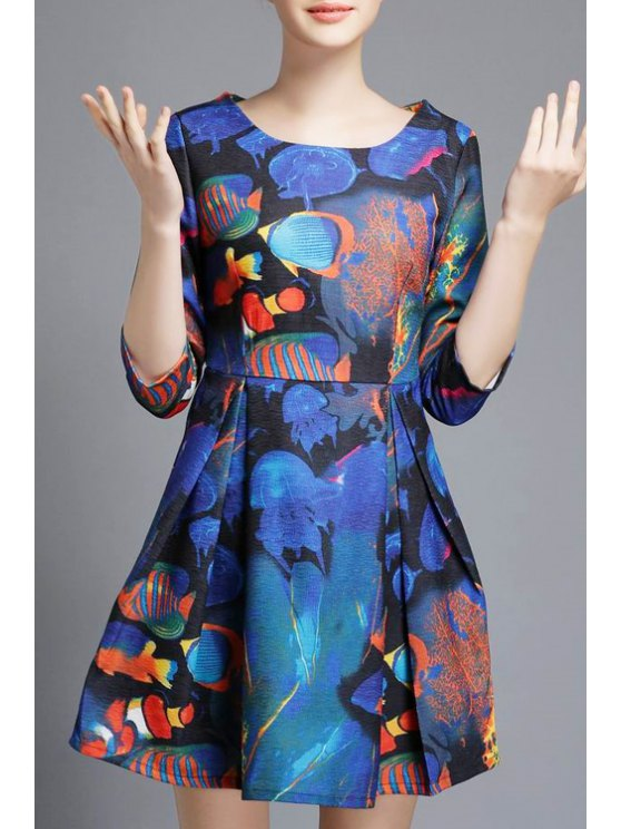outfit Underwater World Print A-Line Dress - BLUE S