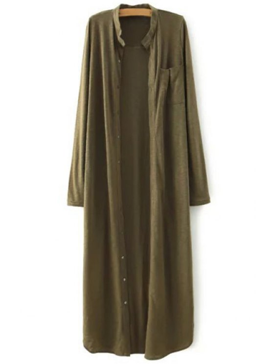 womens Stand Neck Single-Breasted Dress - ARMY GREEN S