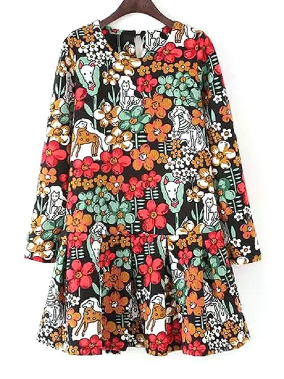 shops Colorful Floral Printed Long Sleeve Dress - AS THE PICTURE S