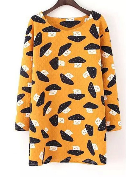 affordable Scoop Neck Mushroom Print Long Sleeve Dress - YELLOW S