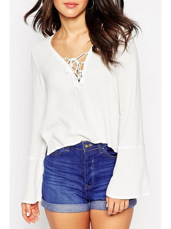 sale White Chiffon V Neck Long Sleeve Blouse - WHITE S