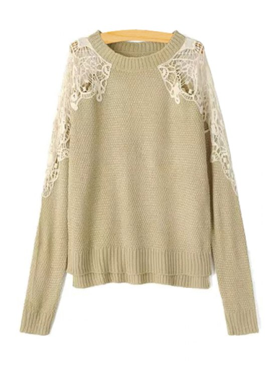 outfits Lace Splicing Openwork Long Sleeve Sweater - KHAKI S