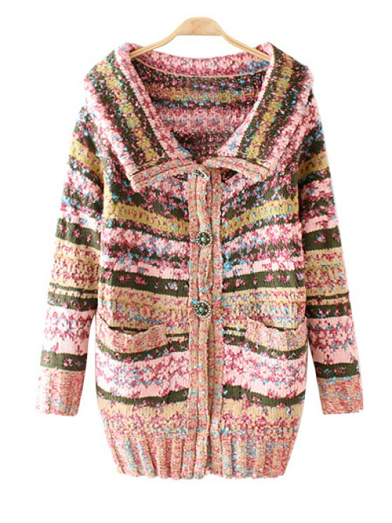 women Turn-Down Collar Colorful Stripe Long Sleeve Cardigan - PINK ONE SIZE(FIT SIZE XS TO M)