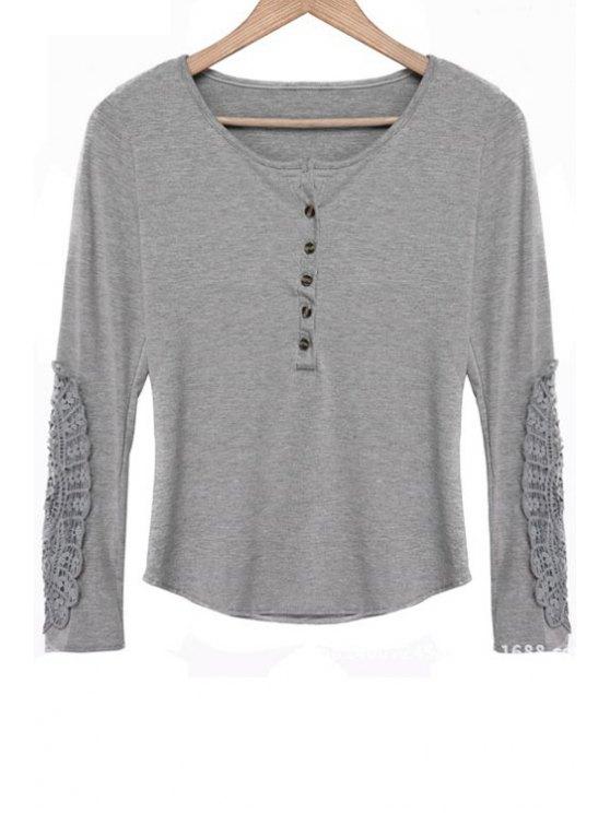 fancy Lace Spliced Scoop Neck Long Sleeves T-Shirt - GRAY M