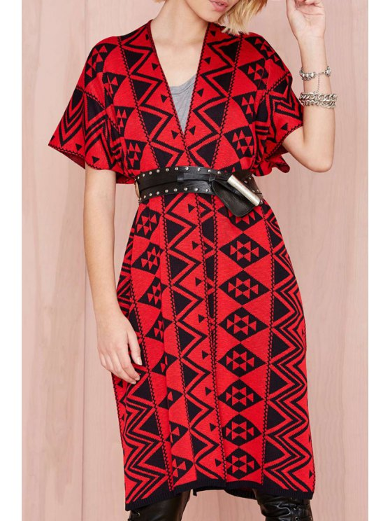 ladies Red Black Argyle Pattern Short Sleeve Cardigan - RED ONE SIZE(FIT SIZE XS TO M)